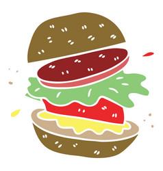 Quirky hand drawn cartoon veggie burger vector