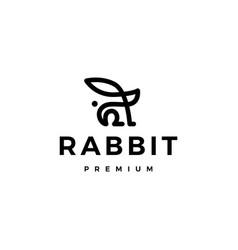 Rabbit bunny hare monoline logo icon vector