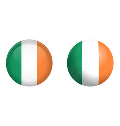 republic ireland flag under 3d dome button and vector image