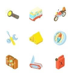 Rest on nature icons set cartoon style vector