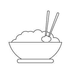 rice bowl with chopsticks black and white vector image
