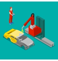 Robot Painting Car Body in Factory Isometric vector