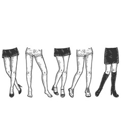 Set female legs with different shoes and vector