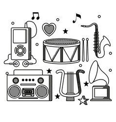 Set mp4 with radio and melody instruments vector
