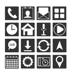 set of 16 black white flat mobile app icon outlin vector image