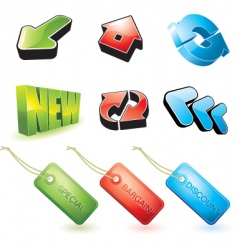 set of 3d objects vector image