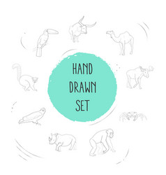 Set of animal icons line style symbols with vector