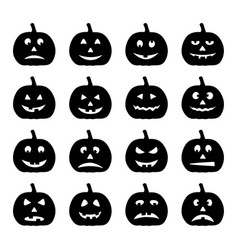 set of black halloween pumpkins vector image