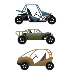 Set of different buggy cars on vector
