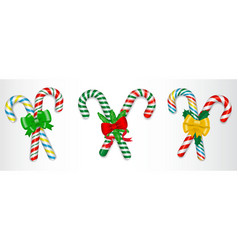 set of realistic candy cane christmas isolated vector image