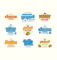 Set of typographic label for milk yogurt peanut vector