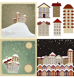 Set of vintage cards with the images of houses vector image