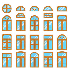 set of vintage wood or wooden window frames view vector image