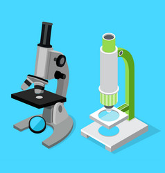 set two modern microscopes medical scientific vector image