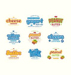 Set typographic label for milk yogurt peanut vector