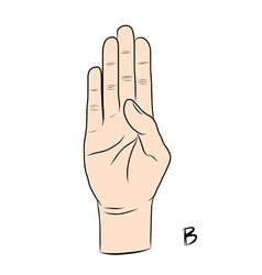 Sign language and the alphabetThe Letter B vector
