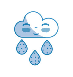 silhouette kawaii nice happy cloud raining vector image