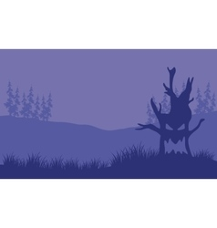 Silhouette of monster tree halloween vector image