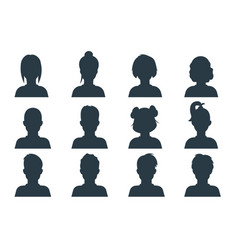 silhouette person head people profile avatars vector image