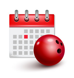 sport calendar and bowling realistic ball month vector image