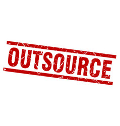 square grunge red outsource stamp vector image