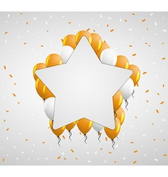 Star badge and orange balloons vector