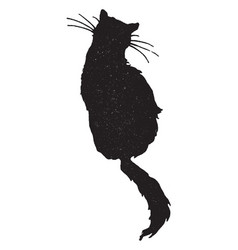 The silhouette of a sitting cat vintage vector