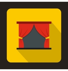 Theater stage with a red curtain icon vector image