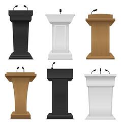 Tribune podium different color rostrums with vector