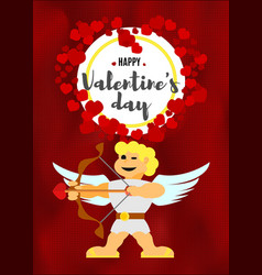 Valentines day greeting card with cupid on red vector