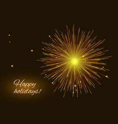 vibrant golden red fireworks greeting background vector image