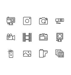 Video and photo camera setting icon simple symbols vector