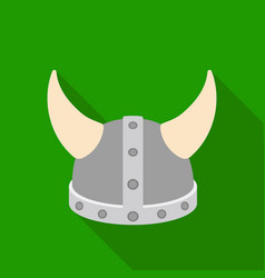 viking helmet icon in flat style isolated on white vector image