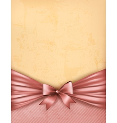 Vintage background with old paper with gift bow vector image