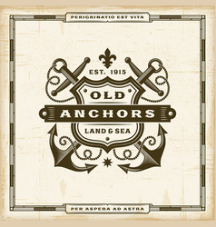 Vintage old anchors label vector