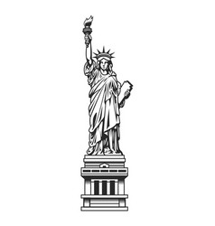 Vintage statue of liberty template vector