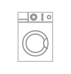 washing machine sign black dotted icon on vector image