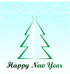 white christmas tree happy new year card vector image