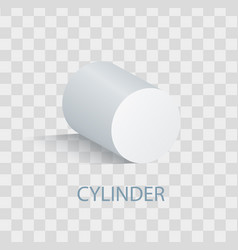 White cylinder geometric figure that casts shade vector