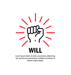 Will concept icon hand raised up on isolated vector