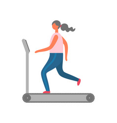 Woman on treadmill gym workout and jogging sport vector