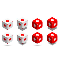 cube with card diamond in red and white colors vector image vector image