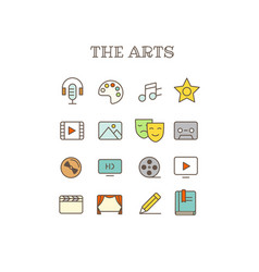 different arts thin line color icons set vector image vector image