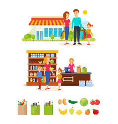 families are buying products in mall vector image