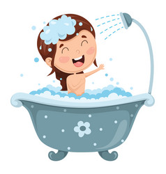 kid bathing vector image