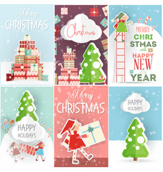 merry christmas posters set vector image