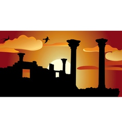 Ruins sunset vector image vector image