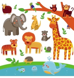 set of cartoon animals - funny and cute vector image vector image
