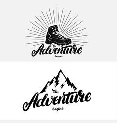 set of the adventure begins hand written lettering vector image