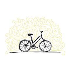 Sketch of bicycle on ornamental wall for your vector image vector image